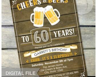 "Surprise 60th Birthday Invitation Cheers & Beers Invite Rustic Wood Country Style - Men Women - 5"" x 7"" Digital Invite"