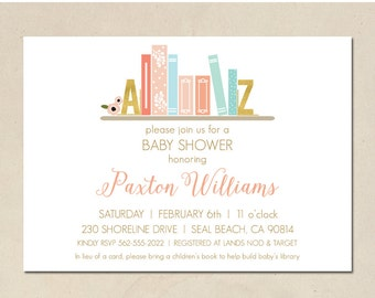 build a library invitation - book shower - baby shower - bring a book - hand illustrated - simple - DIY - custom invite - printable