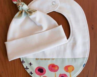 Modern Floral Baby Hat, Teething Bib Gift Set; Pretty Sage, Pink Newborn Baby Cap, Drool Bib; Handmade Organic Cotton Baby Gift; Sage Poem