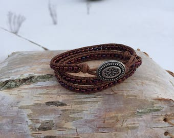 3X Brown Leather Wrap Bracelet- Maroon glass seed Beads - silver Antique Button