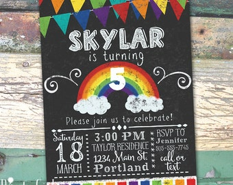 Rainbow Party Personalized Birthday Chalkboard Printable Invitation Print at Home