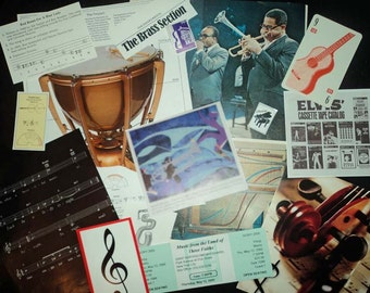 Music Collage Package - Altered Books, Artist Trading Cards, Visual Journals, Decoupage