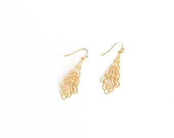 Gold filigree earrings, boho chic, moroccan earrings, bohemian filigree dangle earrings, gift for wife, dangle earrings, drop earrings
