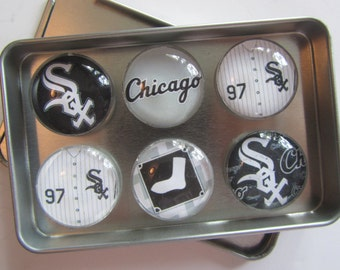 Chicago White Sox Fridge Magnets, Chicago White Sox, White Sox Decor, Chicago, Chicago White Sox Baseball Refrigerator Magnets Set of 6