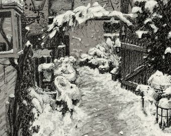 Drawing original florist landscape snow - send me a message for a custom-made portrait/drawing