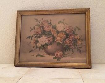Vintage Vase of Roses Print with Original Frame, ca. 1930-1940, Gold Tones
