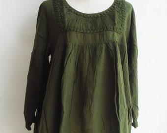 B10, Simply Classic Dark Green Cotton Blouse