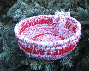 JUNIOR MINT SERIES Peppermint red and white hand coiled basket bowl  Number Five