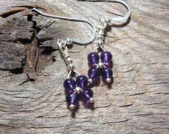 CLIMBING CLEMATIS Flower Weave Earrings - myBouquet Beaded Floral Design  - AMETHYST in Sterling Silver - Handmade by Dorana