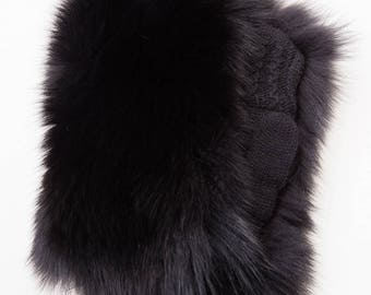 Knitted Wool Mittens / Gloves With Genuine Black Fox Fur For Women