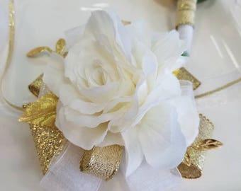 Ivory White and Gold Prom Corsage and Boutonniere Set SEE DESCRIPTION