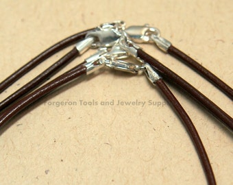 Brown Leather Necklace 16 Inch 1.5mm With Sterling Silver Lobster Claw Clasp - One Necklace - 61116