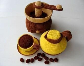 Crochet Pattern - COFFEE MAKER- Toys / Playfood - PDF  (00350)