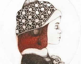 Etching - girl etching - bird etching - bird art - printmaking - fine art etching - original etching - original art - 'Girl and a Bird 2'