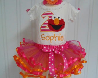 Elmo Birthday Outfit- Personalized bodysuit/T-Shirt/Tutu-Cute Sesame Street Birthday outfit