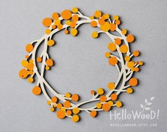 Wooden Autumn Wreath berries Decoration sea buckthorn
