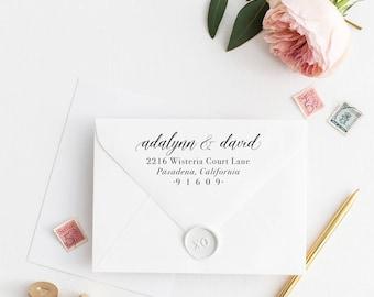 Custom Return Address Stamp, Self Ink Return Address Stamp, Personalized Address Stamp, Calligraphy Address Stamp Return Address Stamp No70