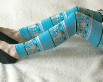CLEARANCE SALE - Turquoise, lilac and brown tribal ornament leggings