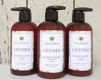 Lavender Soy Hand & Body Lotion - Green Daffodil - VEGAN -SL8