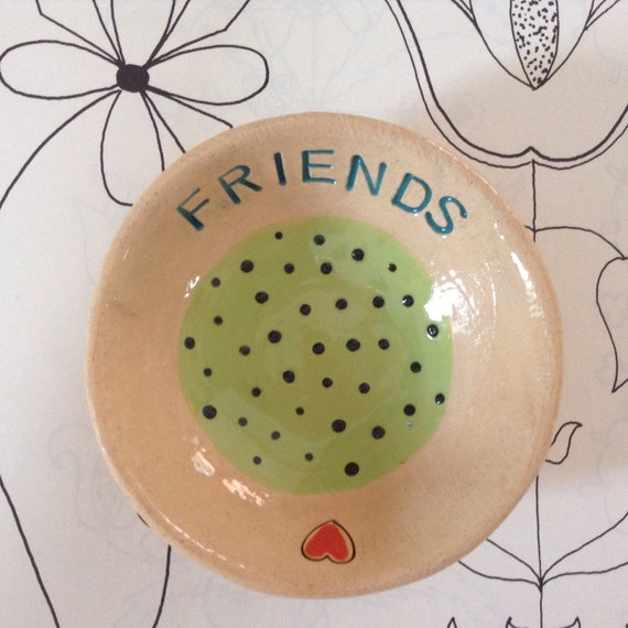 Handmade Tiny ceramic dish, trinket dish, pins dish, friends, friendship, gift