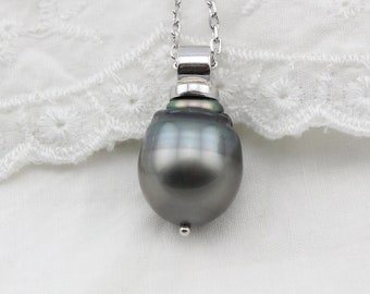 Huge 14.5x16.6mm Tahitian Pearl Sterling silver Necklace 131205