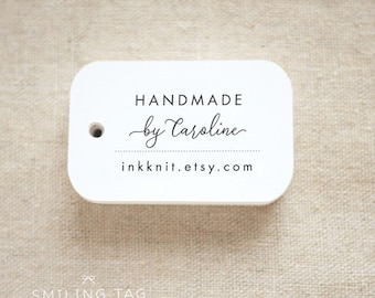 Handmade By Personalized Gift Tags - Handmade with Love Tags - Etsy Product Tags - Etsy Shop Labels - Set of 24 (Item code: J708)