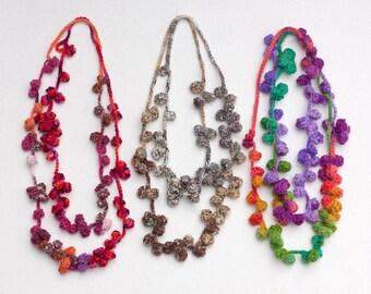 Multicolor long necklace, statement fiber jewelry, crochet wool necklace, OOAK