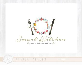 Natural food logo, restaurant logo ,fork and knife logo  ,food logo ,photography logo  ,boutique logo ,watermark ,food blog logo