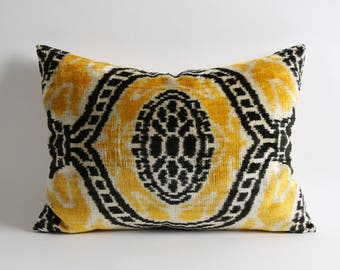 Yellow Black Cream silk velvet ikat cushion cover, 16x22 lumbar yellow ikat pillow, sofa couch pillow, eclectic decor