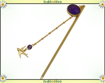 PIC à cheveux Ginko Japan brass gold 24 k violet purple resin mother's day personalized gift anniversary