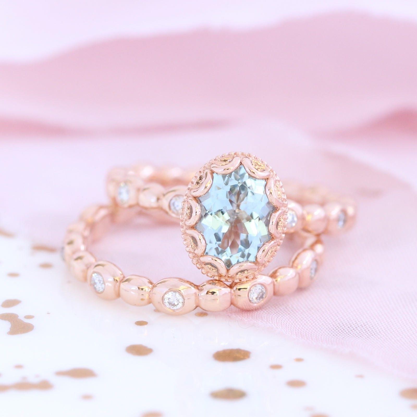 14k Rose Gold Floral Wedding Ring Bridal Set 8x6mm Oval