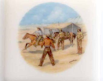 Fused glass coasters with cowboys, pony express, bronc riders