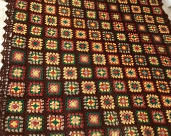 SALE Vintage Brown Cotton Crocheted Granny Square Afghan