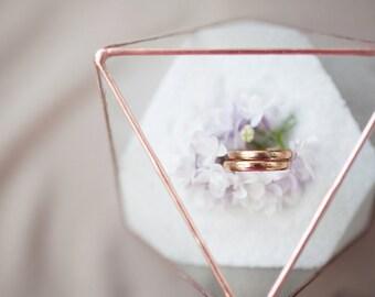 Wedding ring holder - Wedding ring box - Ring bearer box - Glass box - Wedding ring bearer holder - Geometric glass box - Octahedron (JB11)