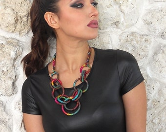 Textile Chain Statement Necklace Coleus
