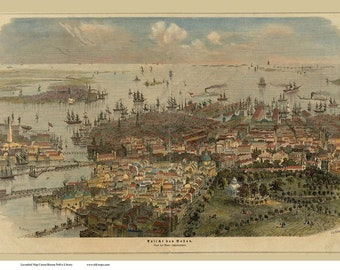Boston - 1866 - German Text - Bird's Eye View by W. Aarland