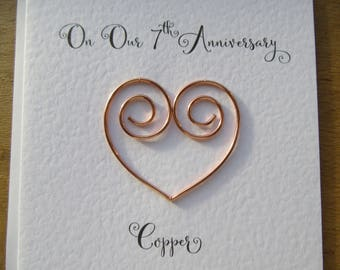 7th anniversary card copper 7 wedding anniversary card traditional handmade gift - Husband, Wife