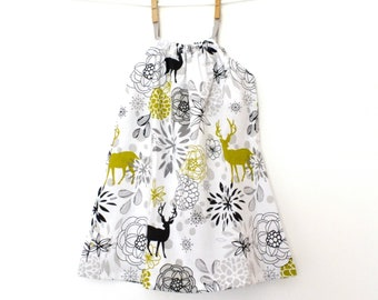 "Baby dress, kids dress with straps ""Deer"" (12/18 months to 6 years)"