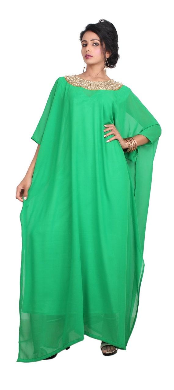 New Embellished Dress Kaftan Georgette Wedding 100 Two Piece Silk Caftan rqwSrX4p
