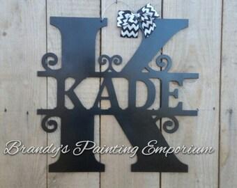 Last name door hanger, monogram, home decor, door hanger, hand painted, wood, wood hanger