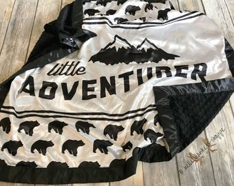 Satin Baby Blanket- Little Adventurer Blanket- Baby Boy Blanket- Woodland Blanket- Monochrome Nursery- Baby Blanket- Minky Blanket