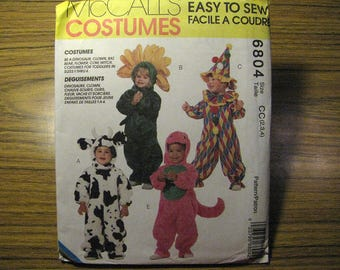 Vintage McCalls 6804 Halloween Costume Sewing Pattern - Toddler Size 2, 3, 4 - Cow, Flower, Clown, Witch, Dinosaur, Bear, Bat Sewing Pattern