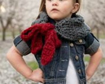 Cozy Cowl Crocheted Flint Grey, Burgundy Toddler, Girl, Adutl Photo Prop Scarf Shawl