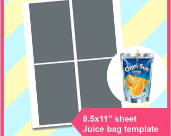 "Instant Download Capri Sun Juice bag Template, Capri Sun Tenmplate  PSD, PNG and SVG, Dxf, Doc Formats, 8.5x11"" sheet, Printable 172"