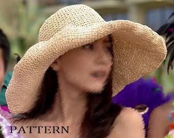 pdf download crochet floppy hat pattern, wide big brim straw sun hat pattern,raffia hat pattern
