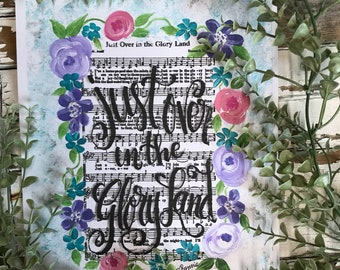 Just Over in the Gloryland   Hymn Print from orginal acrylic artwork Ready to frame 8x10