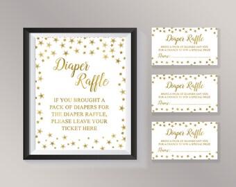 Diaper Raffle Ticket, Diaper Raffle Sign, Twinkle Twinkle Little Star Baby  Shower Games,