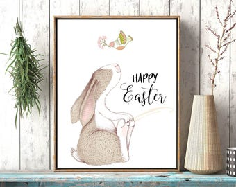 Easter Sign, Easter home decor, Happy Easter Print, Easter wall art decor, Easter Decoration, Easter art, Easter Prints, Easter rabbit art