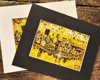 Pittsburgh Skyline wall art,  Black n Gold Pittsburgh print, with mat, Pittsburgh Skyline by Johnos Art Studio