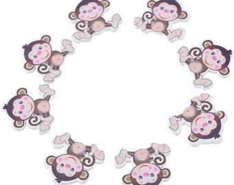 10 Sew/Scrapbook Wood Monkey Buttons 29x28mm (B52g/308a)